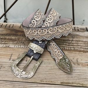 Lace and rhinestone leather cowgirl belt